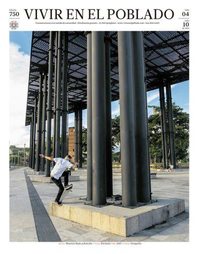 Portada ed 750 Artista: Mauricio Mejía @doncabe TÍTULO: Sin título AÑO:2019 Técnica:Fotografía Mauricio Mejía es miembro de la segunda generación de skaters de la ciudad. En tabla desde 1988, trascendió el uso como medio de transporte a los trucos, luego a la venta de accesorios y, apoyado en su profesión como arquitecto, a la construcción de rampas por todo el Aburrá. Mejía cree en el skate como un deporte profesional y eso ha querido fomentar en los nuevos practicantes que siguen su guía. También es un apasionado por la fotografía y por registrar cada truco, cada intento en pista. Uno de ellos es Camilo Henao, a quien captó en el Parque de las Chimeneas, en Itagüí, en pleno blunt frontal.