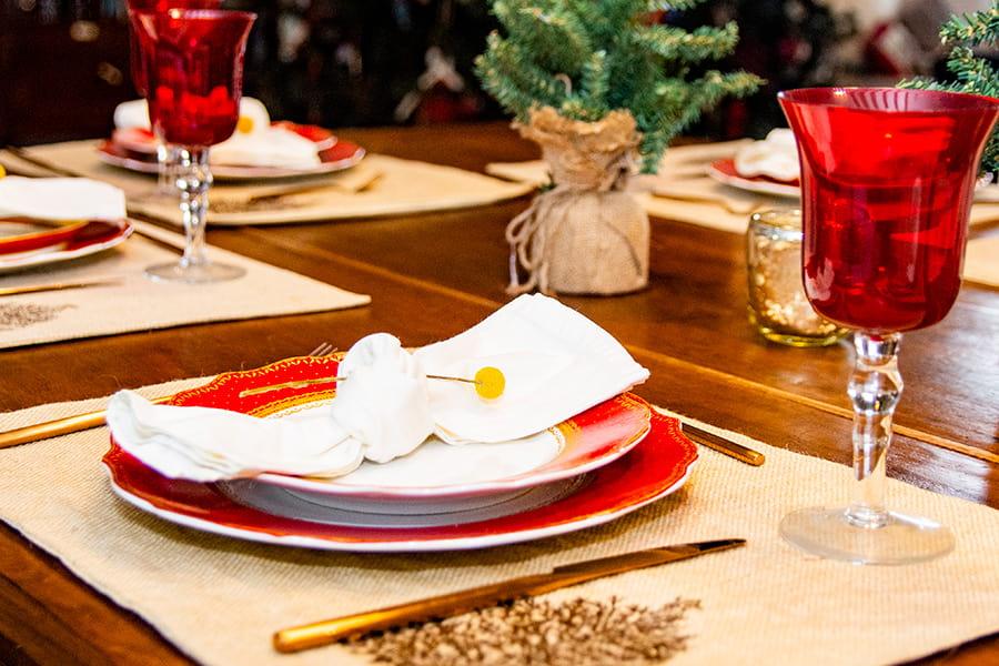 decoración la mesa navideña
