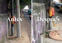 Poste mal instalado en La Aguacatala fue retirado