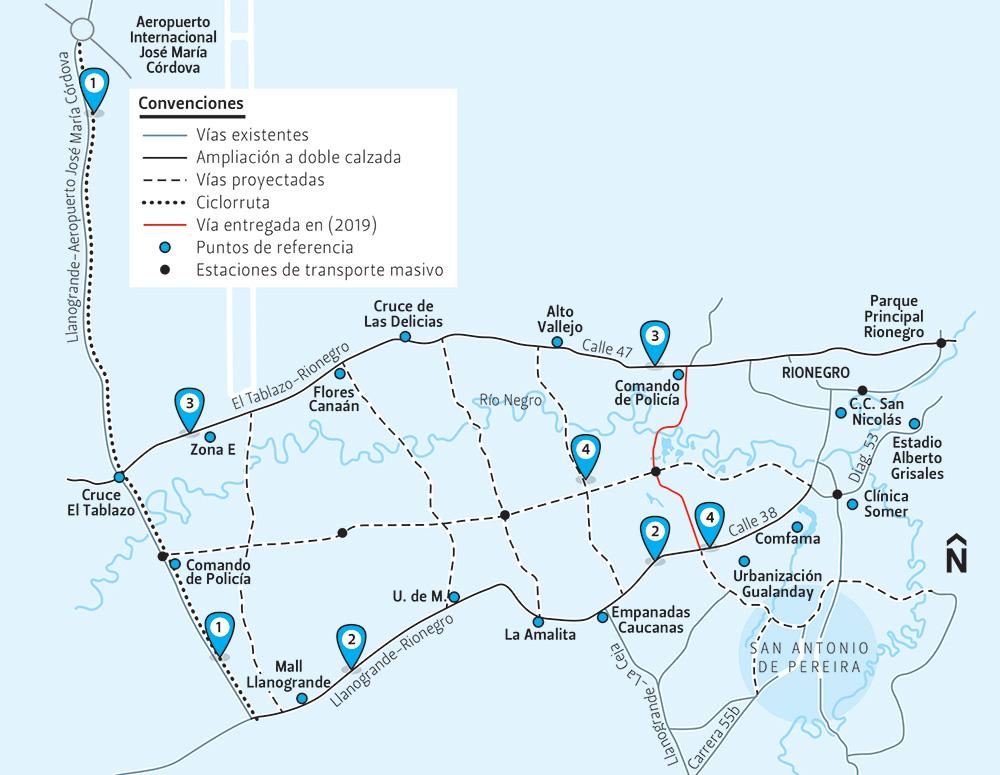 Mapa-Rionegro Rionegro empieza 2020 con obras pendientes