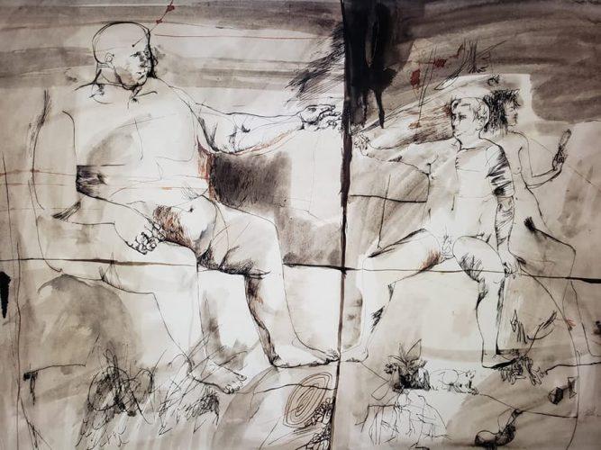 Juan Antonio Roda. Sin título. Mixta sobre papel. 70x100. Fecha: 1966