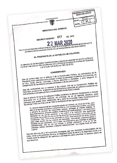 Decreto Cuarentena en Colombia