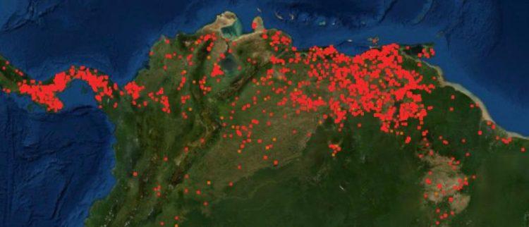 Reporte global de incendios, según el reporte Firms, de la Nasa.