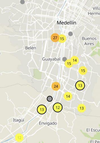 calidad del aire en Medellín 8 d abril 2020