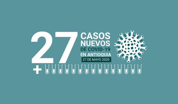 27 casos nuevos de COVID-19 en Antioquia este 27 de mayo