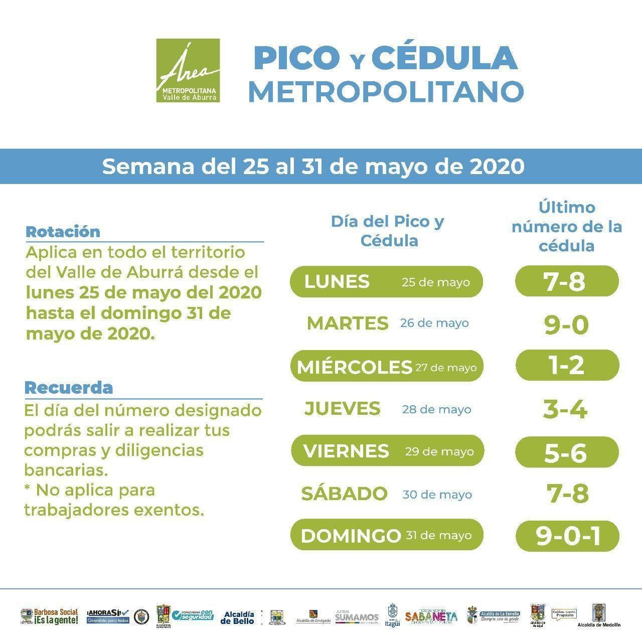 Pico y cédula Medellín 25 al 31 de mayo