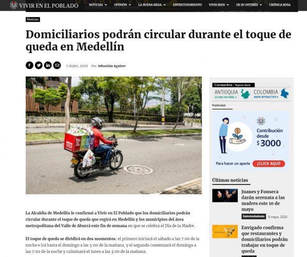 Alcaldia De Medellin Ahora Informa Que Domiciliarios No Podran Circular En El Toque De Queda Periodico Vivir En El Poblado
