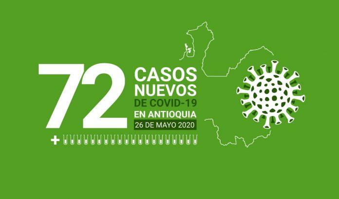 72 casos nuevos de COVID-19 en Antioquia este 26 de mayo