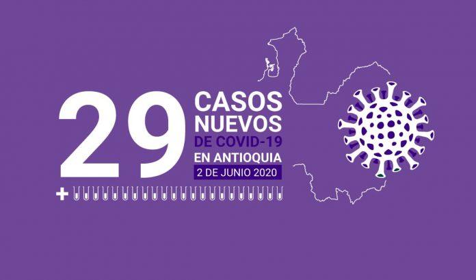 29 casos de COVID-19 en Antioquia este 2 de junio