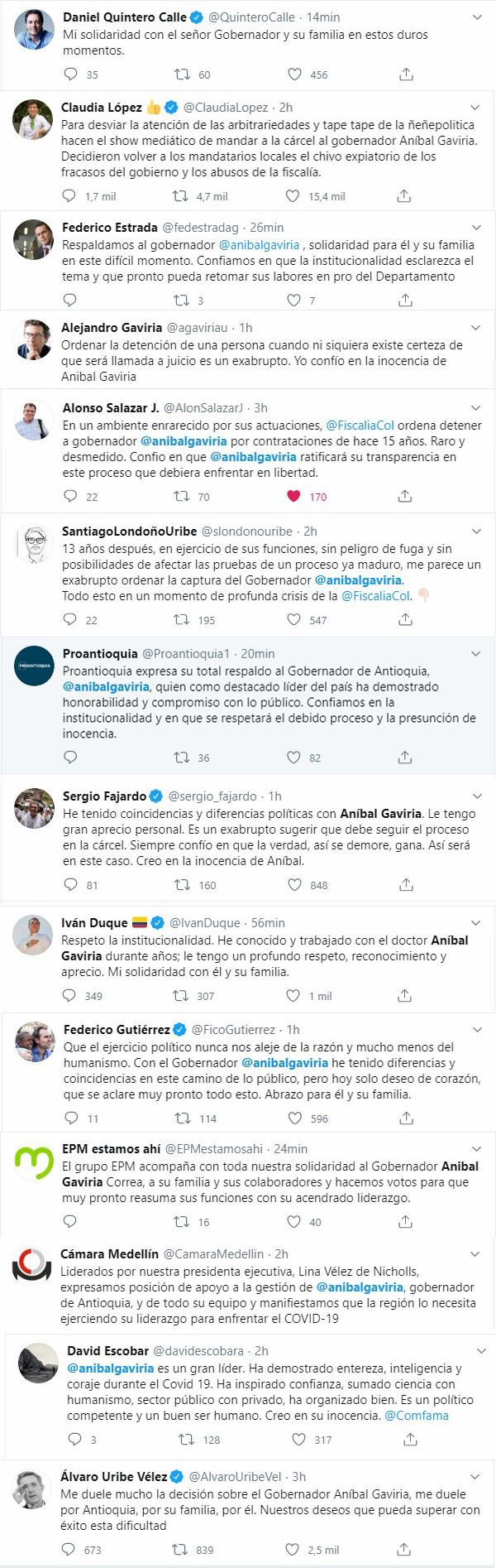 Opiniones twitter orden de captura Anibal Gaviria