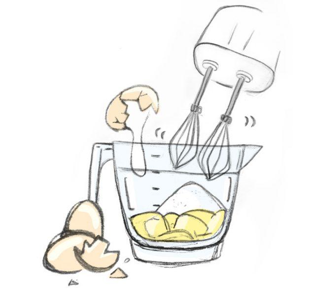 Batir la mantequilla con el azúcar por cinco minutos. Este proceso llamado cremado incorpora aire en la preparación. La mezcla debe ser ligera y no se debe pegar al tazón.