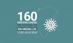 160 casos covid-19 en Medellin el 12 de-julio