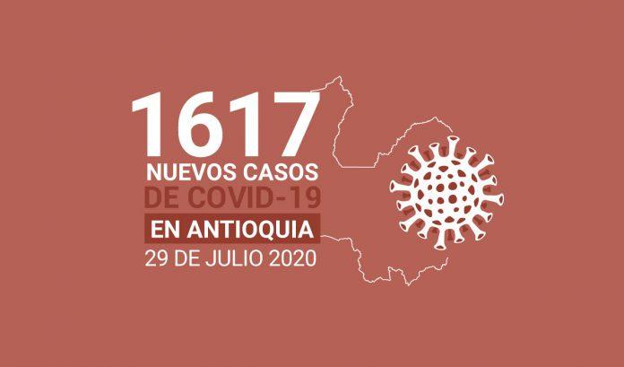1.617 nuevos casos de COVID-19 este 29 de julio en Antioquia