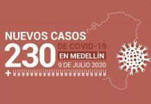 Casos COVID-19 Medellín 9 de julio