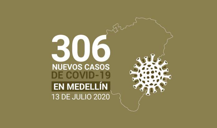 306 casos covid-19 en medellin el 13 de-julio