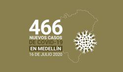 466 casos covid-19 en medellin el 16 de-julio