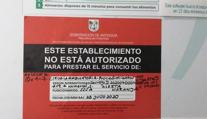 La Secretaría Seccional de Salud y Protección de Antioquia selló ayer a Quirófanos El Tesoro por incumplir el Decreto del 15 de julio de 2020.