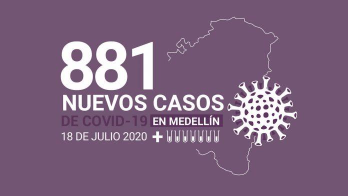 Registro de casos de COVID-19 en Medellín este 19 de julio