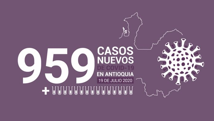 959 nuevos casos de COVID-19 este 19 de julio en Antioquia