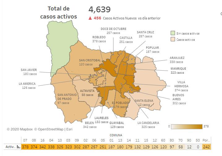 Mapa de casos activos de COVID-19 en Medellín