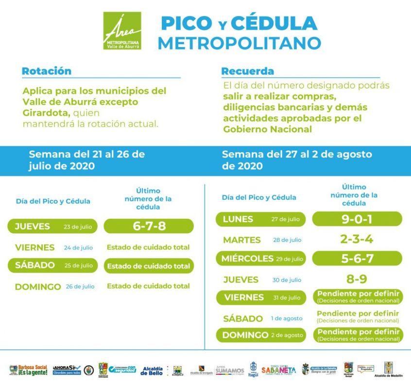 Pico y Cédula de 21 de julio al 2 de agosto (sujeto a cambios)