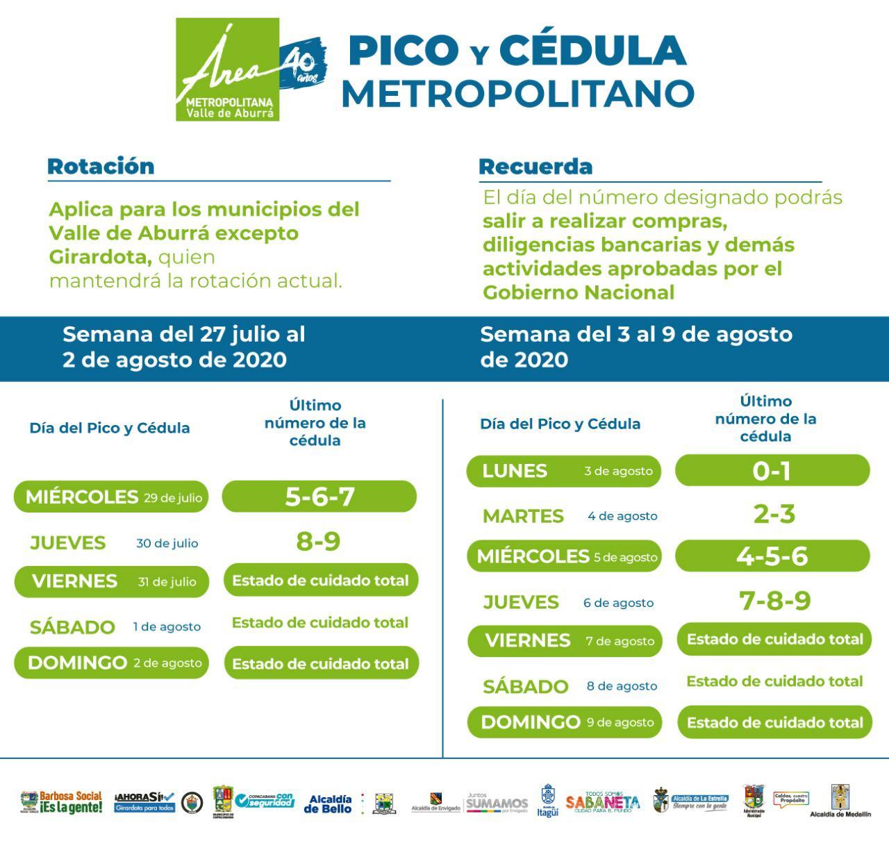 Pico y cédula 27 de julio al 9 de agosto en el Área Metropolitana