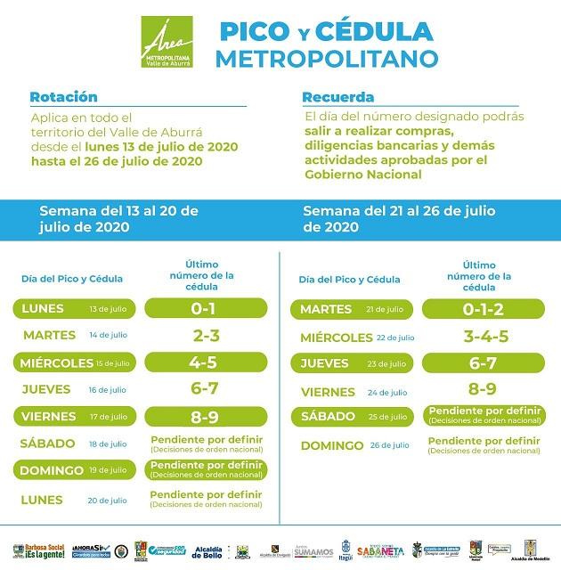 Pico y cédula metropolitano del 13 al 26 de julio vuelve a ser de dos cifras