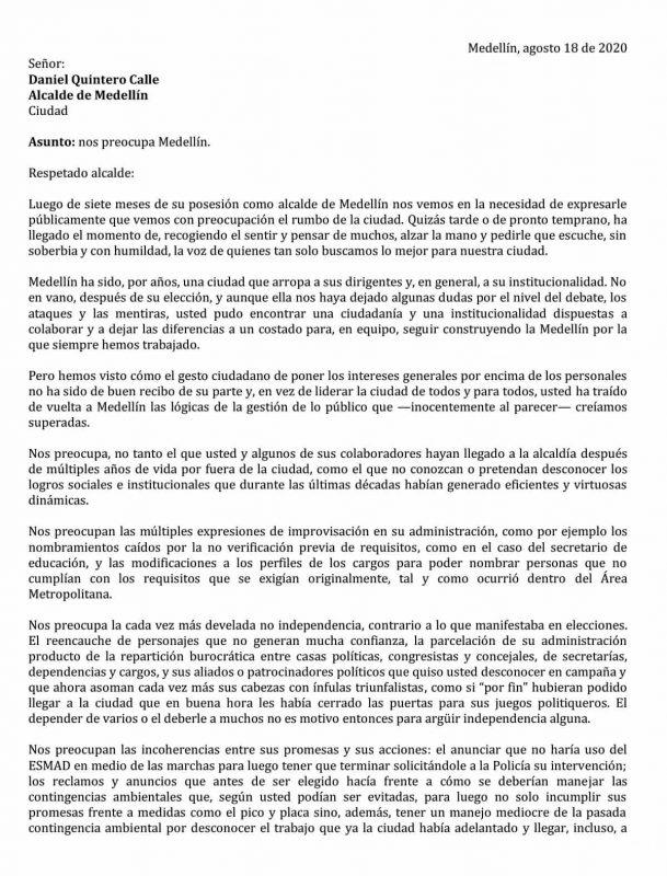 Carta al Alcalde Daniel Quintero