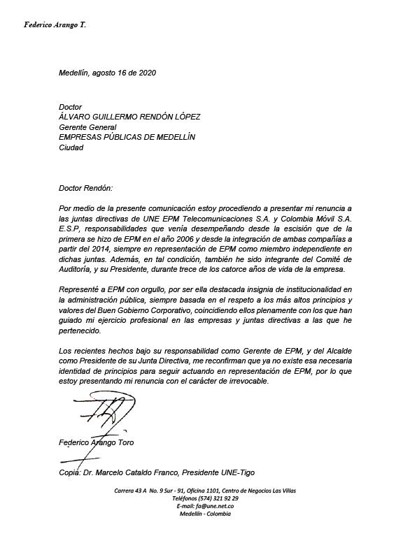 Carta renuncia Federico Arango Toro