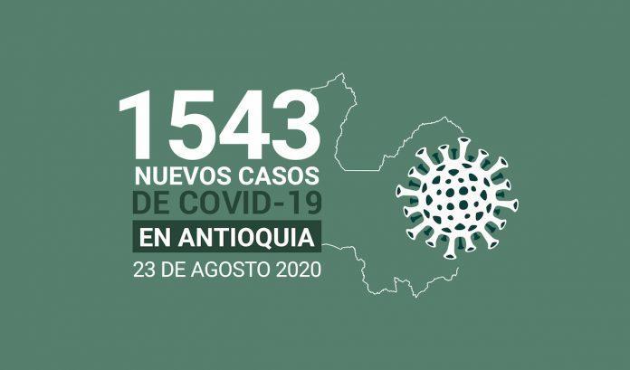 Reporte de nuevos casos covid19 en Antioquia Colombia DEL 23 DE AGOSTO DE 2020