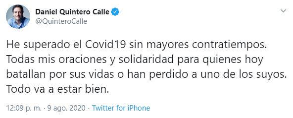 Trino Alcalde de Medellín Daniel Quintero sobre su recuperación de la COVID-19