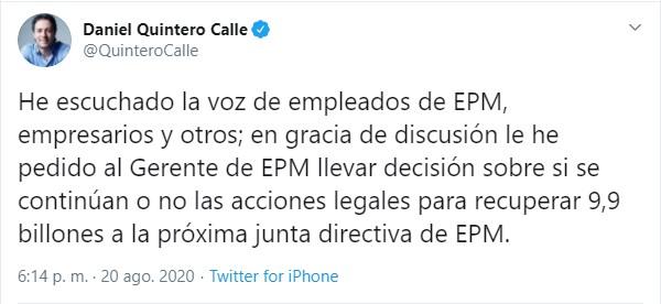 Tuit Daniel Quintero junta directiva de EPM