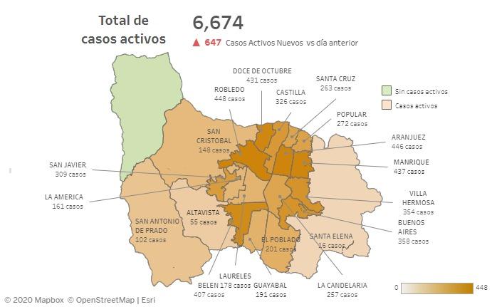 casos covid-19 en barrios Medellin el 4 de-agosto