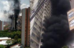 incendio en una construcción en el sector El Carmelo de Sabaneta
