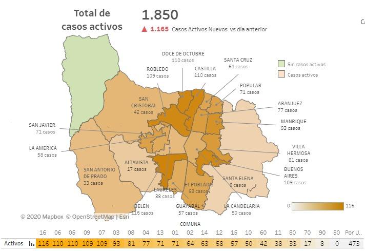 Mapa Reporte de casos nuevos de COVID19 del 21 de septiembre de 2020