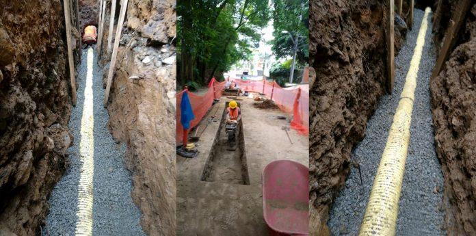 Reparación de tubería de aguas residuales