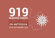Reporte de casos nuevos de COVID19 en Antioquia el día 30 de septiembre de 2020