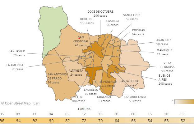 Casos de COVID-19 en barrios de Medellín 23 octubre