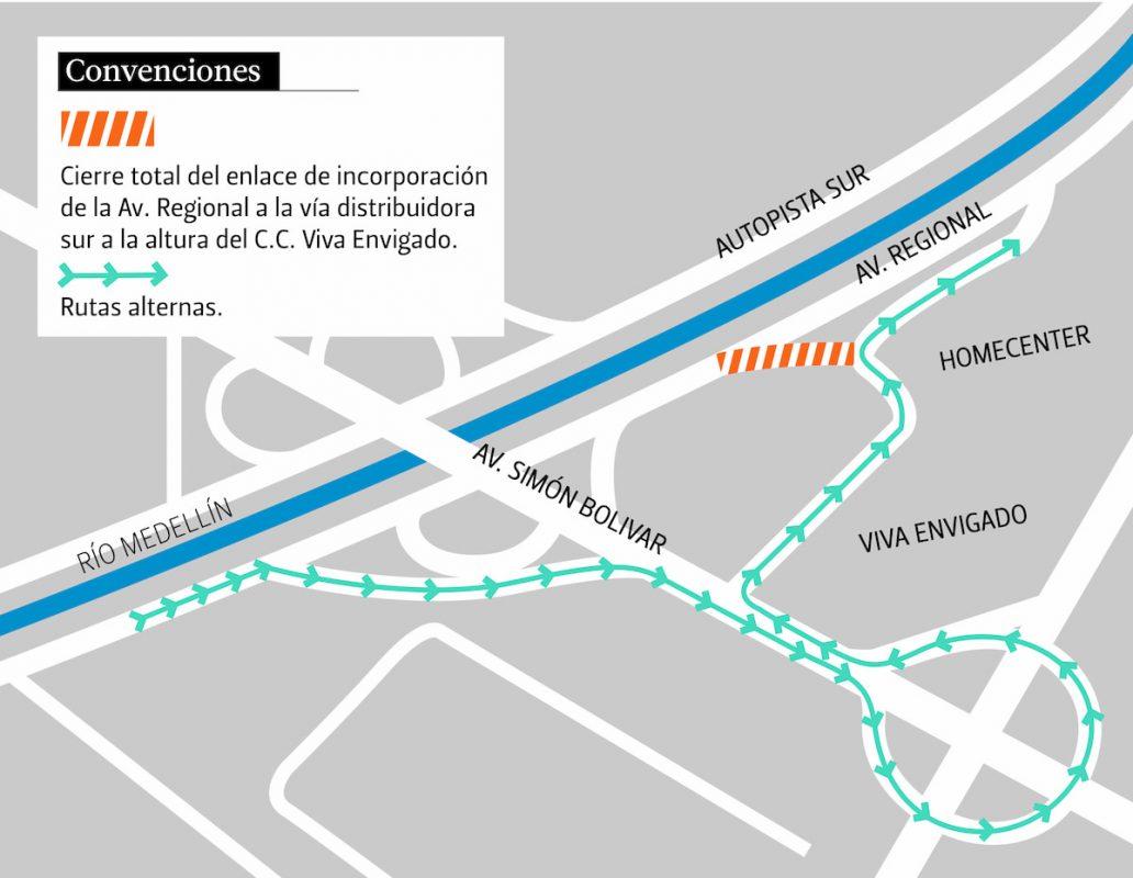 Mapa cierre de la vía distribuidora a la altura del cc Viva Envigado av Regional