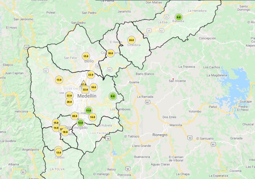 Mapa estado alerta ambiental en Medellín 14 de octubre de 2020