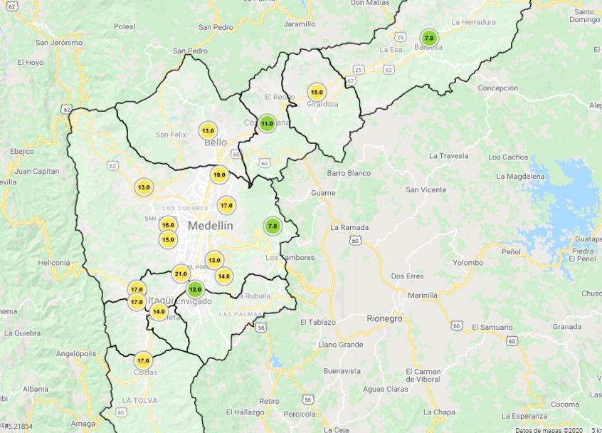 calidad-de-aire-de-medellin-Mapa reporte SIATA