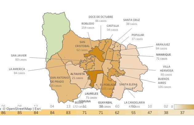 COVID-19 barrios Medellín 27 de noviembre