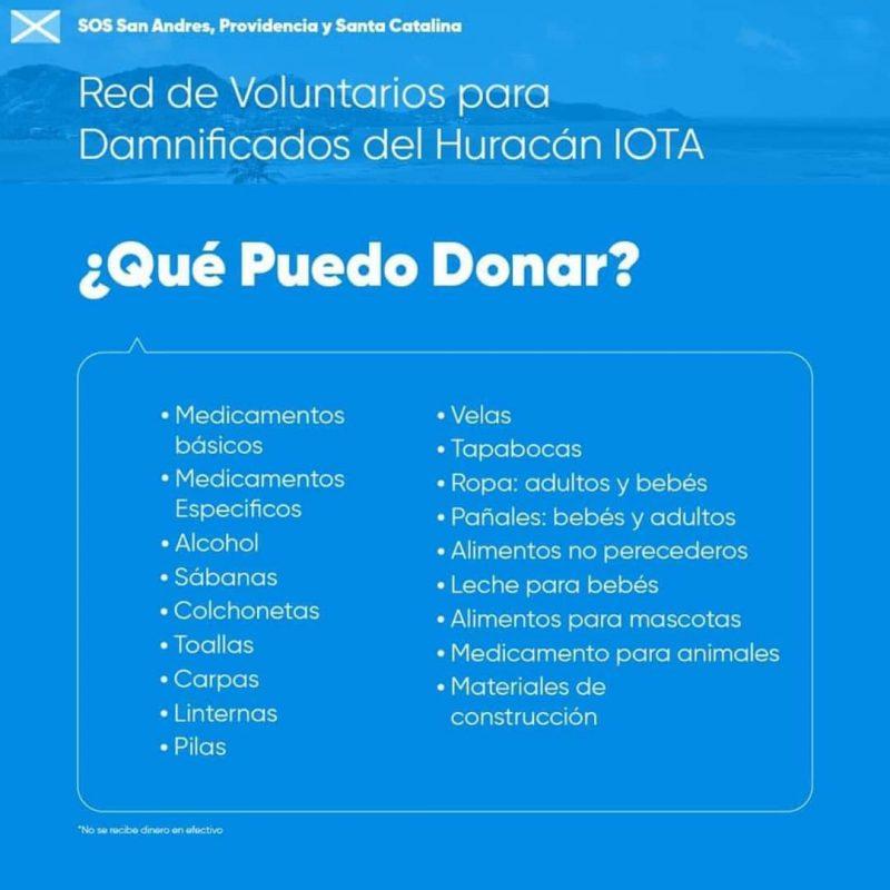San Andrés y Providencia huracán Iota-donaciones