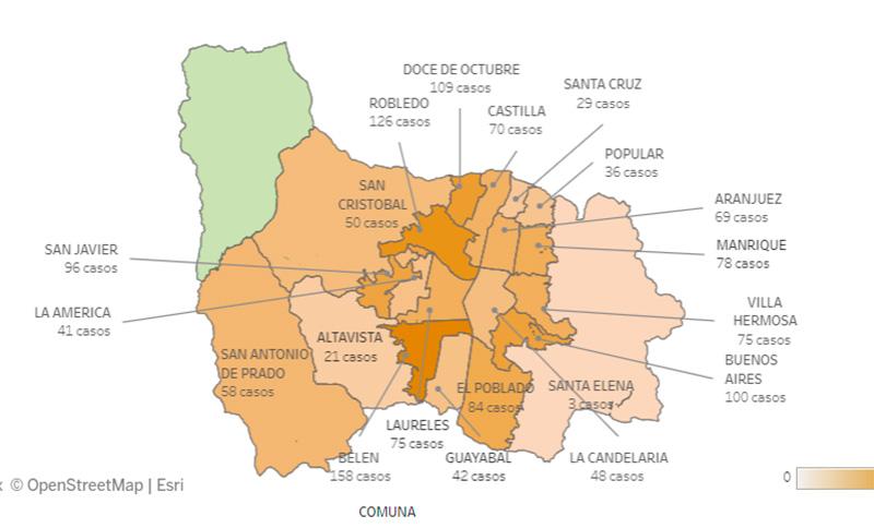 Casos de covid-19 en barrios Medellín-12 de Noviembre