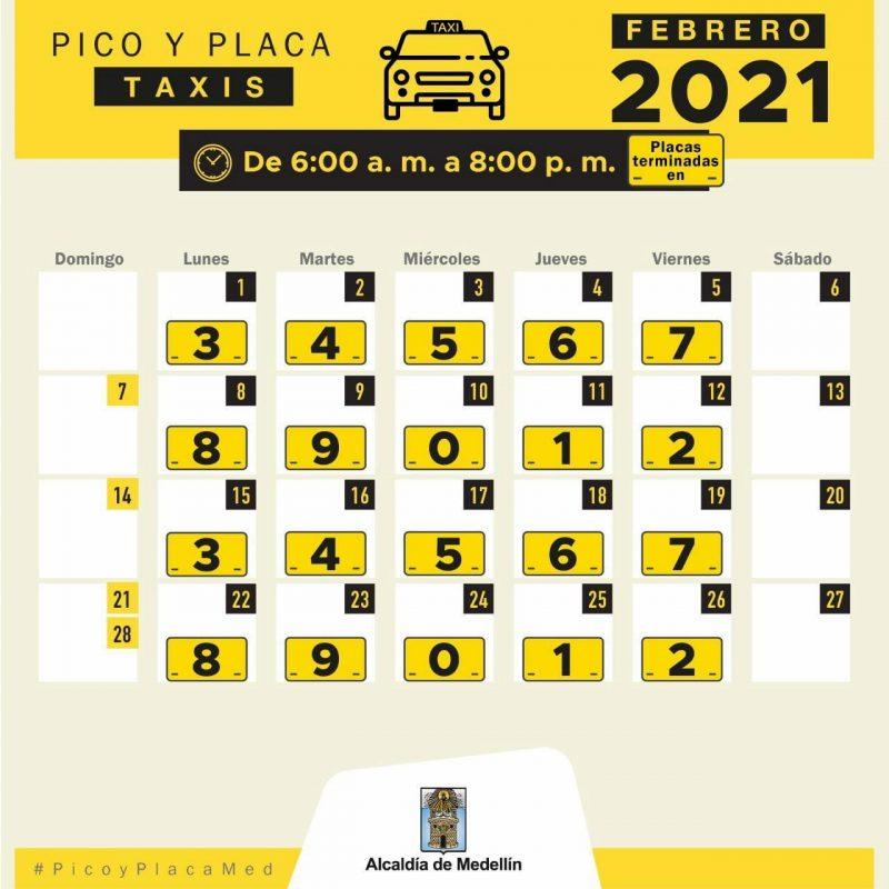 Rotación Pico y placa taxis febrero de 2021