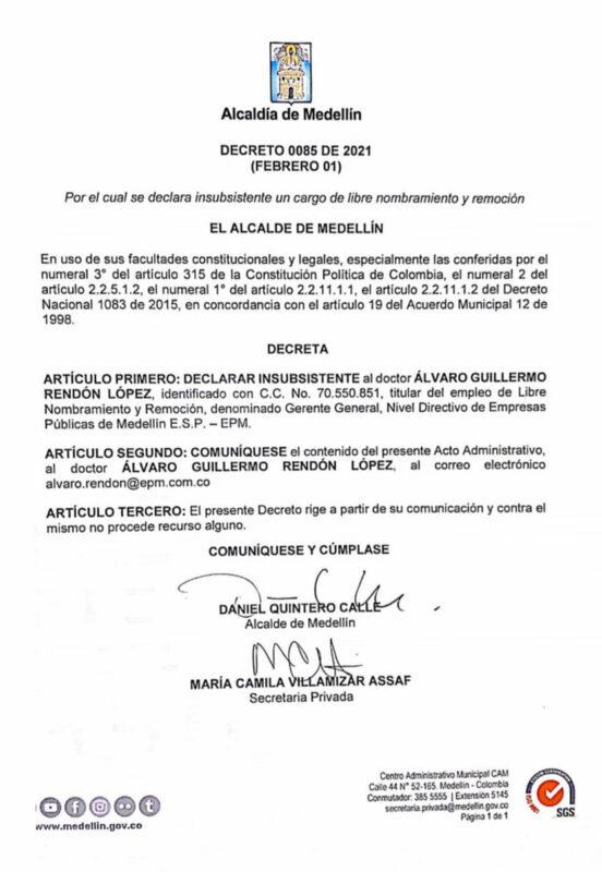 Decreto Alcladía sobre renuncia Gerente EPM