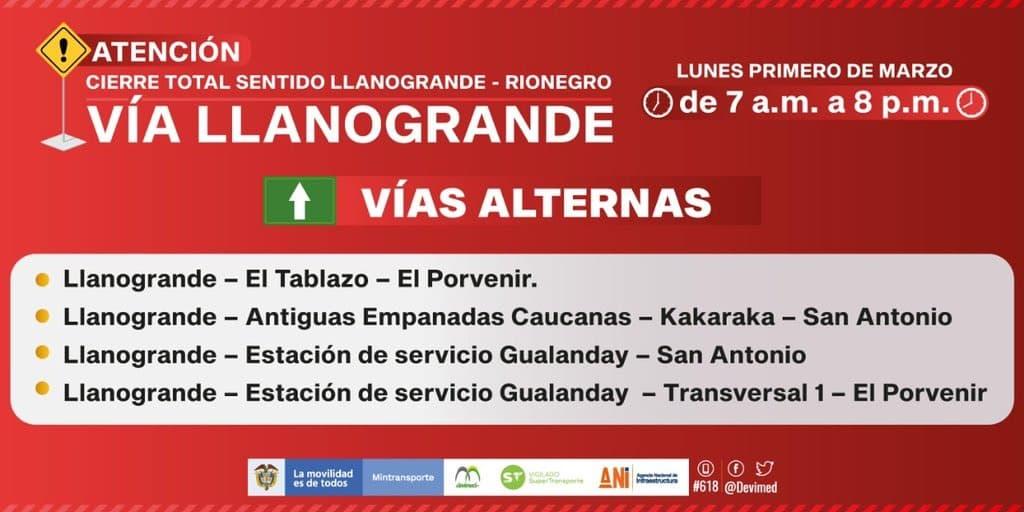 Desde el primero de marzo habrá cierre total de la vía en sentido Llanogrande- Rionegro-2