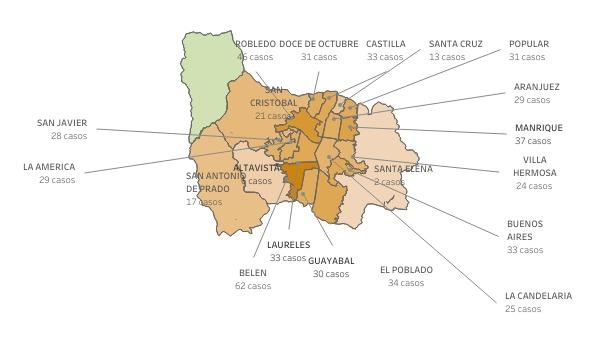 Mapa Covid en Medellín febrero 25