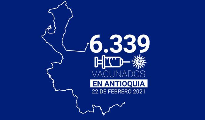 Vacunados contra la COVID-19 en Antioquia este 22 de febrero