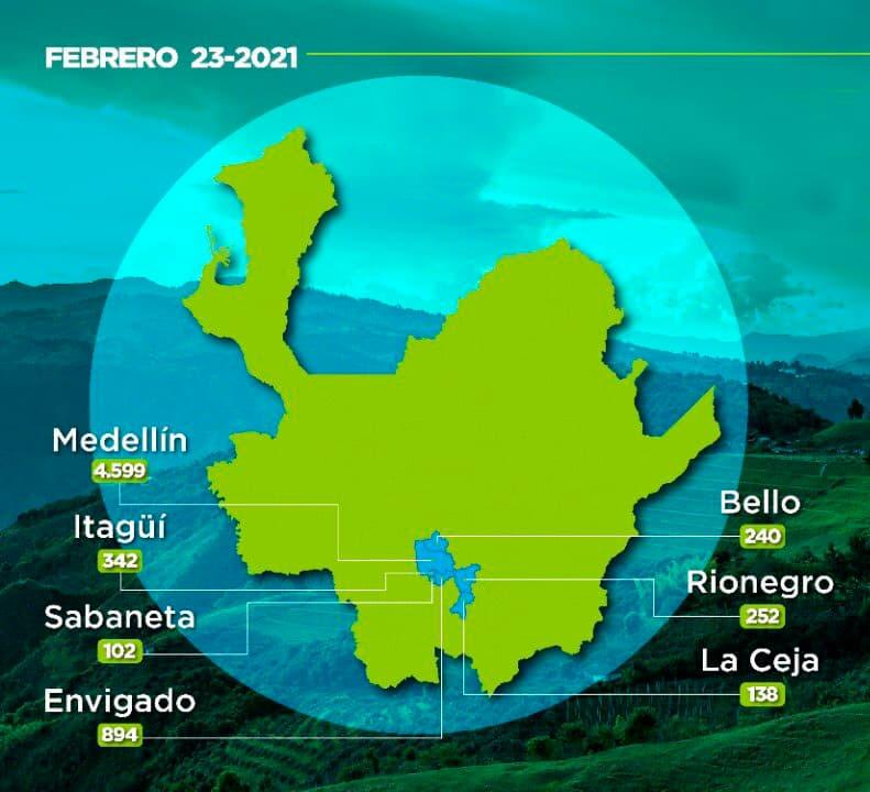 Vacunados contra la COVID-19 en Antioquia este 24 de febrero